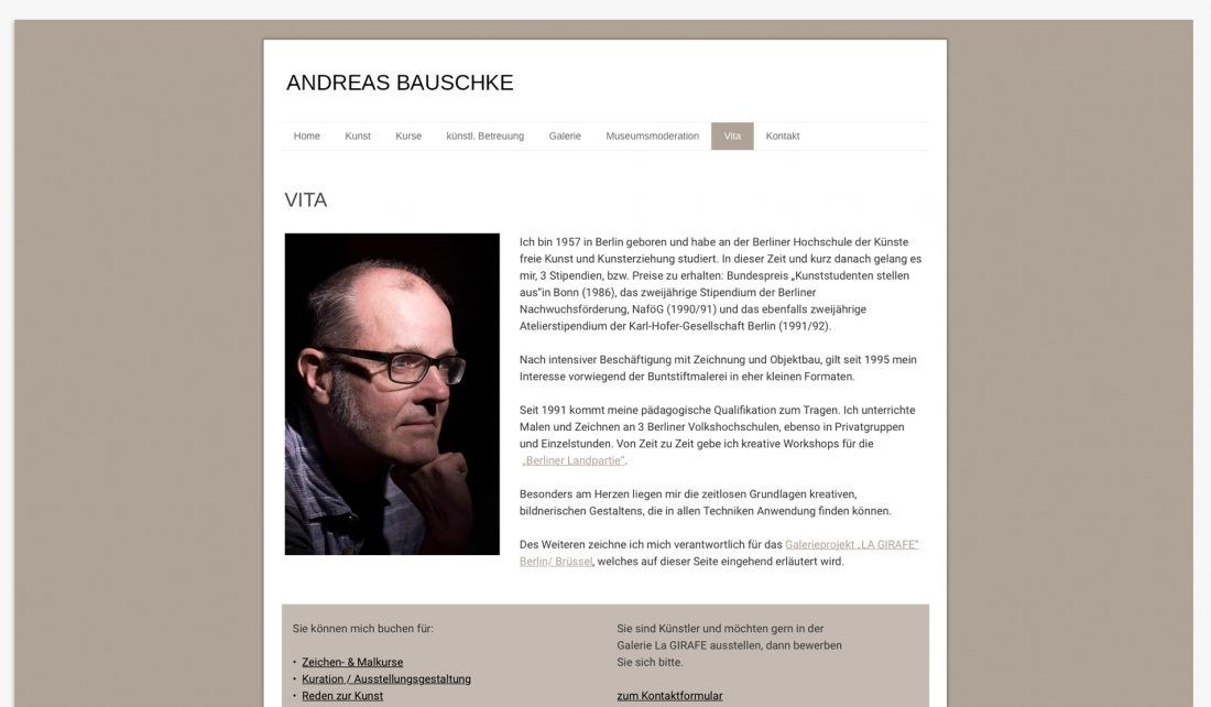 Screenshot der Website von Andreas Bauschke -Vita