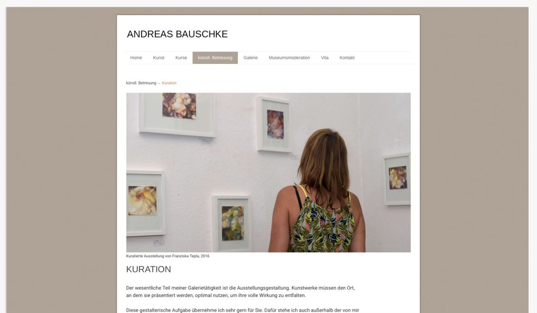 Screenshot der Website von Andreas Bauschke -Kuration