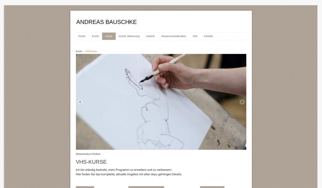Screenshot der Website von Andreas Bauschke - Mal- und Zeichenkurse