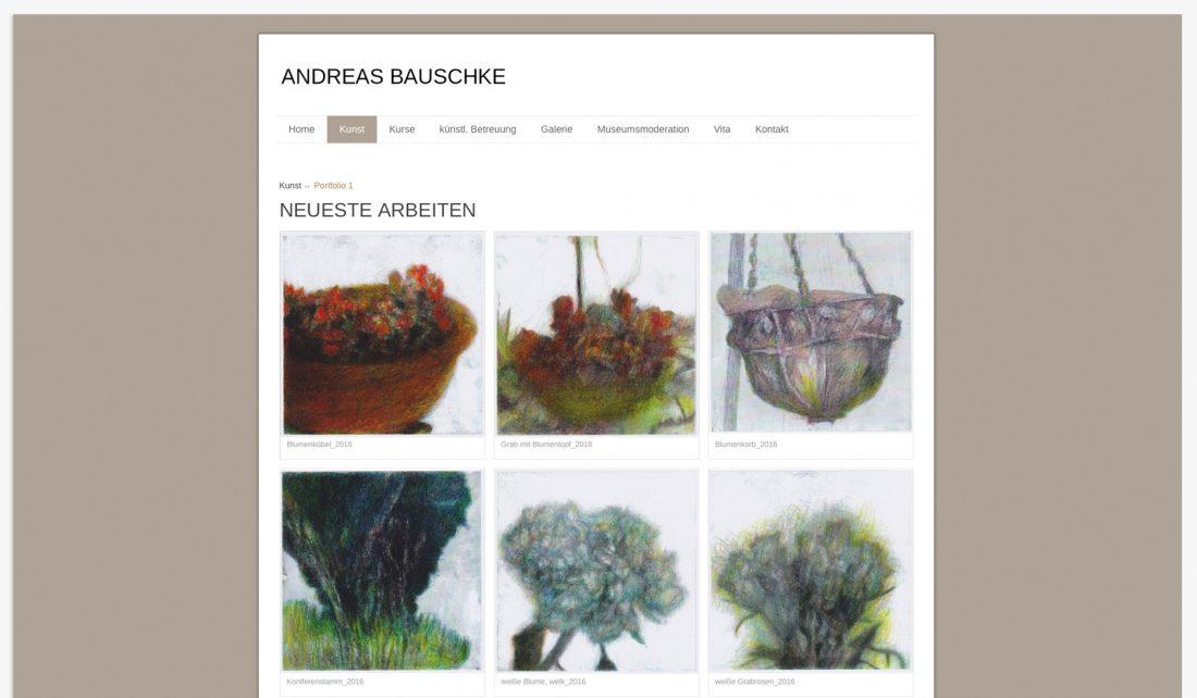 Screenshot der Website von Andreas Bauschke -Portfolio seiner künstlerischen Arbeiten