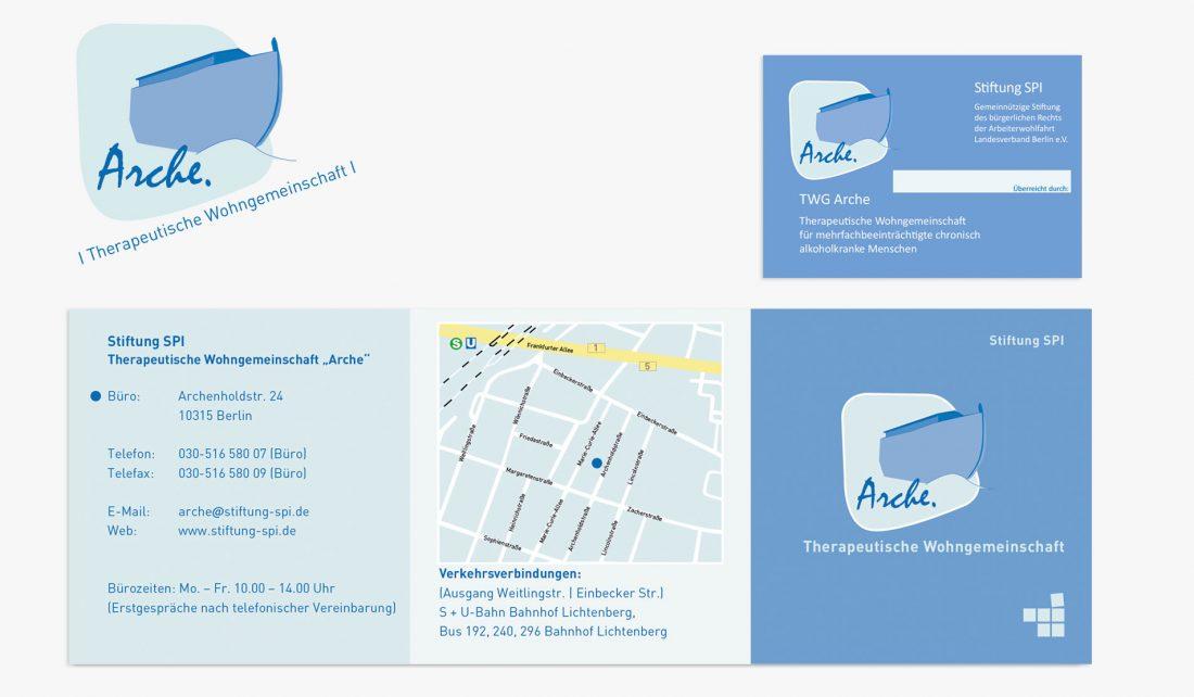 Logo, Vistenkarte, Info-Flyer, TWG Arche, Stiftung SPI