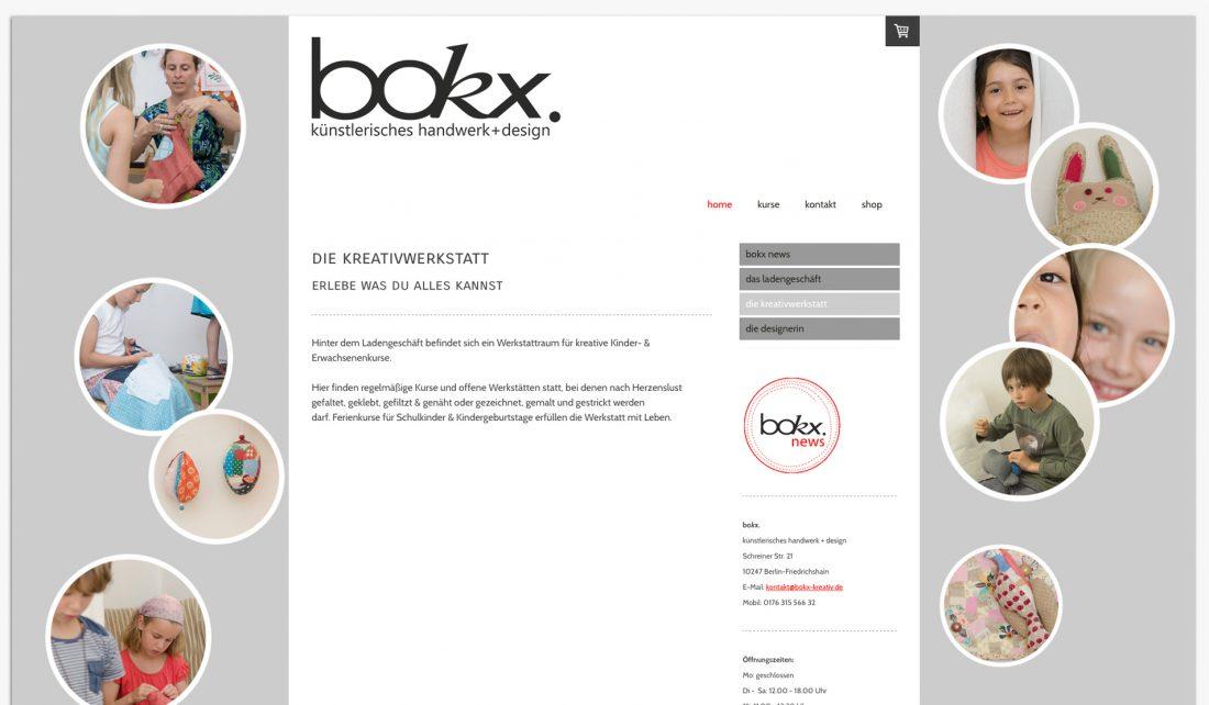 Screenshot der Website von bokx-kreativ - die Kreativwerkstatt