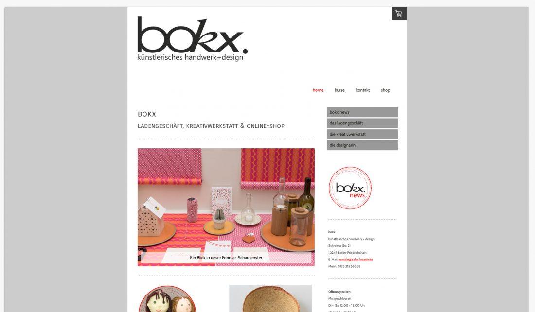 Screenshot der Website von bokx-kreativ -Inhaberin Stephanie Niesner