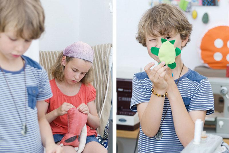 Imagereportage bokx-kreativ - Nähkurs für Kinder -beim Arbeiten und Schildkröte