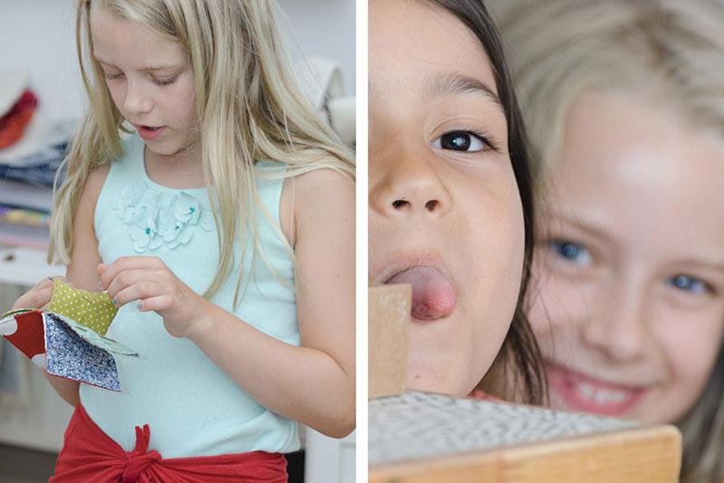 Imagereportage bokx-kreativ - Nähkurs für Kinder -beim Arbeiten und Frechdachse