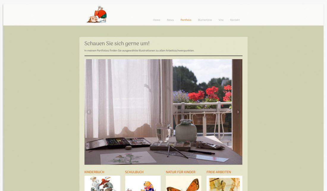 Screenshot Imagefotografie für die Website von Gudrun Lenz, Illustratorin