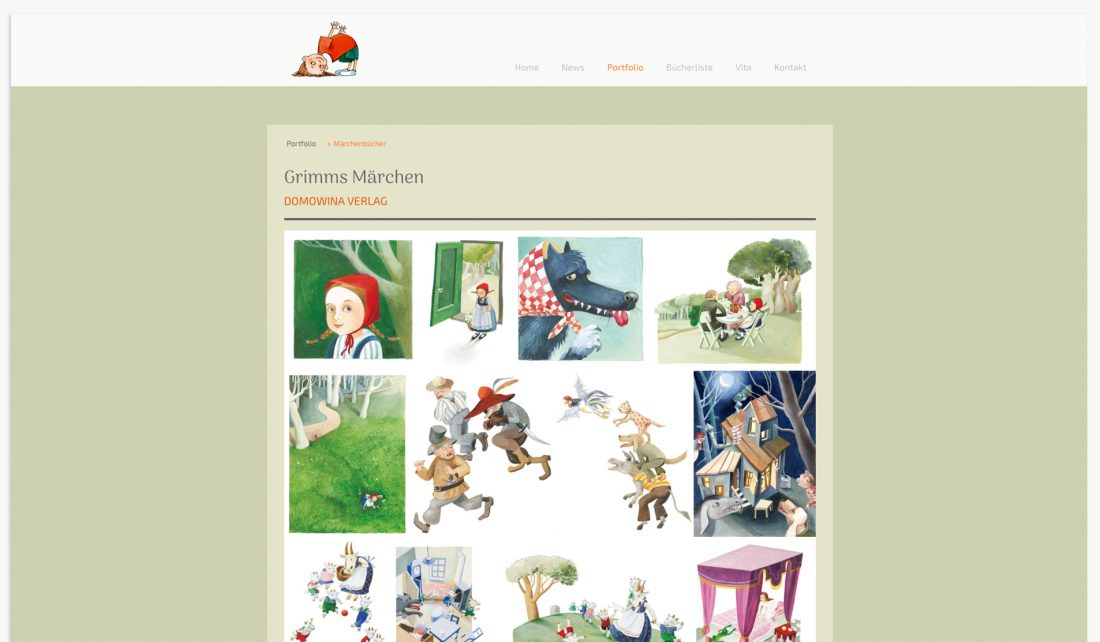 Screenshot Portfolio der Website von Gudrun Lenz, Illustratorin