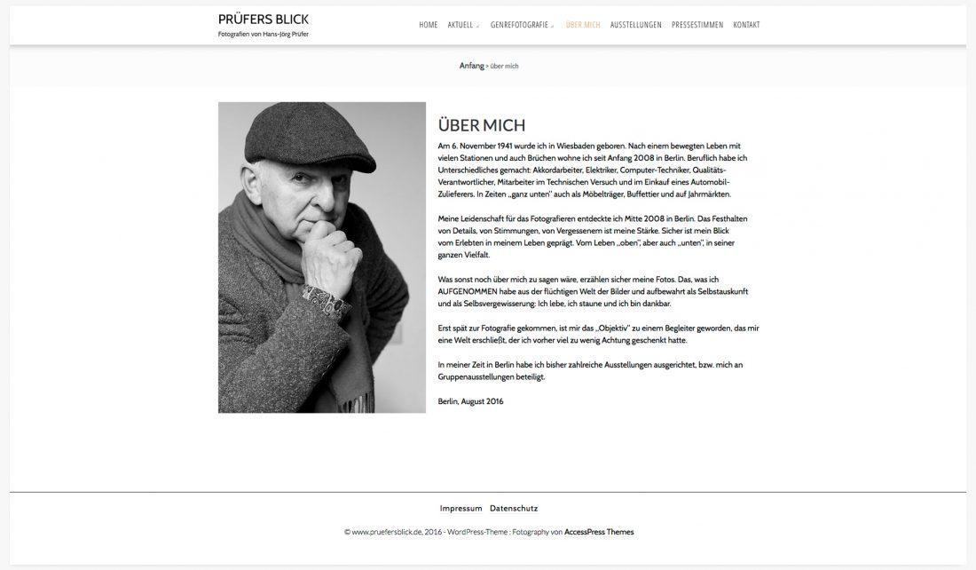 Screenshot der Website von Hans-Jörg Prüfer - Fotograf - Vita