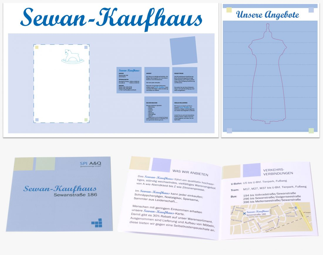 Außenbeschilderung , Plakat und Info-Flyer für das »Sewan Kaufhaus«, SPI A&Q - gemeinnützige GmbH
